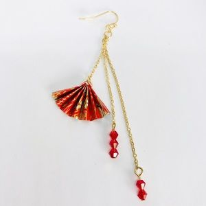 Kate Stylist Jewelry - New! Traditional Japanese Fan Beaded Earring Red